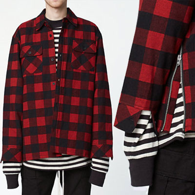 [riri zipper]中綿入りキルティング★サイドジッパーポイント★レッドチェックネルシャツジャケット