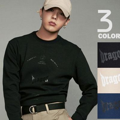 [8 X GD's PICK】(正規品)G-DRAGON着用!ブラック、ベージュ、ブルーのグラフィックスウェットシャツ