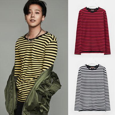 [8 X G-DRAGON](正規品)イエロー、レッド、ホワイトのストライプTシャツ_G-Dragon GDコラボ