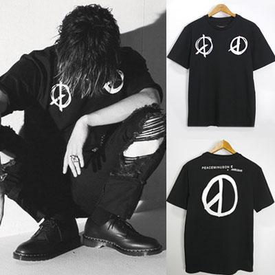 ピースマークプリントショートスリーブTシャツ/BIGBANG G-DRAGON st./FXXK IT/もう知らない(エラモルゲッタ)
