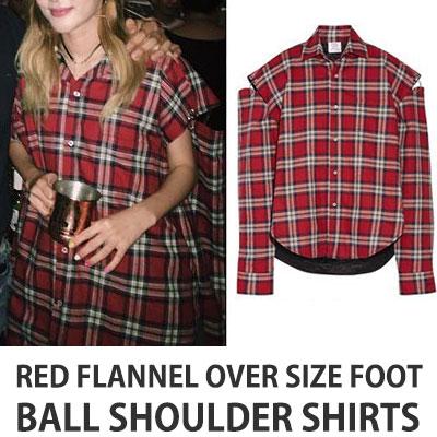 2ne1 SANDARA ST.レッドフランネルオーバーサイズのフットボールショルダーシャツ