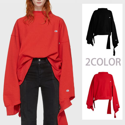 17ssハーフネック&ハーフカットロングスリーブスウェットシャツ/ red、black☆BCV