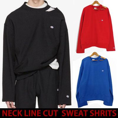 17ss ネックラインハーフカットスウェットシャツ/blue,red,black☆BCV