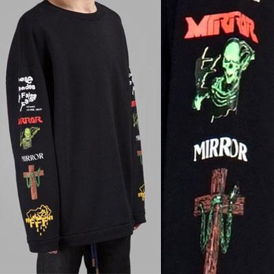 17ss ブラックミックスロックオーバーサイズロングスウェットシャツ
