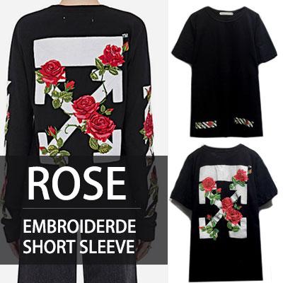 ローズ刺繍ポイントショートスリーブT-シャツ