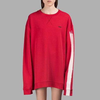 ホワイトブラシポイントオーバーサイズロングスリーブスウェットシャツ