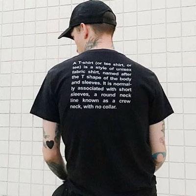 バックレタリングプリントショートスリーブTシャツ/半袖