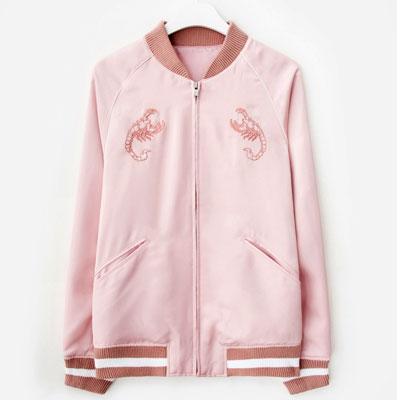[33%Sale][8SECONDS]/2017ss 8 X GD's PICK(正規品)ピンク刺繍サテンスカジャン GDコラボ