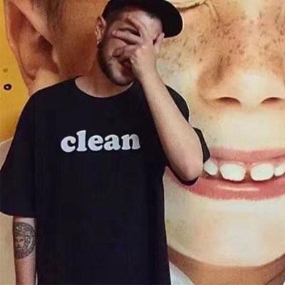 CLEANロゴショートスリーブTシャツ/半袖