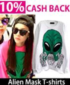 ファッションアイコン2ne1のダラがインスタグラムで着用style!Alien Mask T-shirts(white,pink)