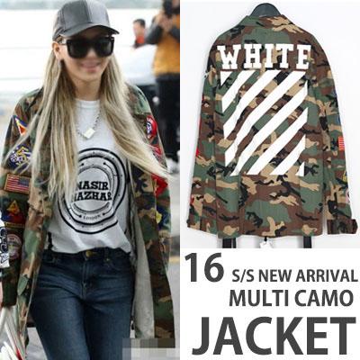 ★OFF 16FW ワッペンカモコンバットジャケット★2NE1のCL空港ファッション!(L:WOMAN/XL:MAN)