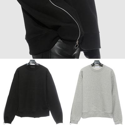 スリーブジッパーポイントスウェットシャツ(BLACK、GREY)