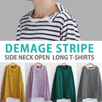 ダメージストライプサイドネックオープンロングTシャツ