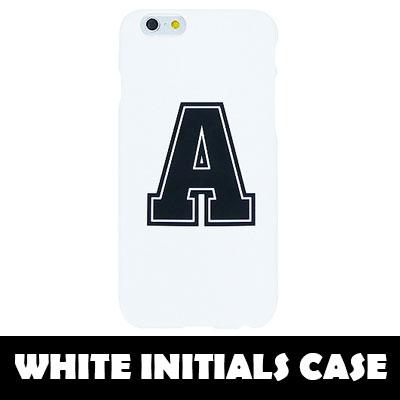[TOUGH CASE] A~Zまで選べる ホワイト イニシャル ハード スマホケース