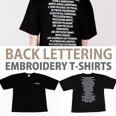 バックレタリング刺繍Tシャツ/半袖