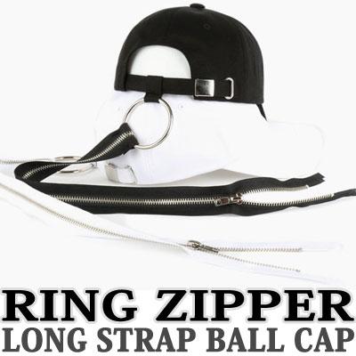リングジッパーロングストラップボールキャップ