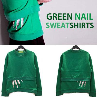 [S,M,L SIZE]ユニークなネイルプリントが魅力的!グリーンネイルプリントスウェットシャツ
