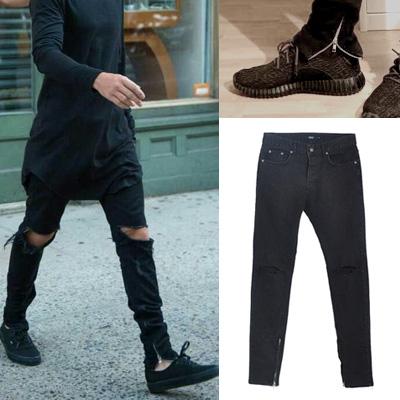 定番のファッションアイテム!サイドジッパーワンクロップニーダメージブラックジーンズ