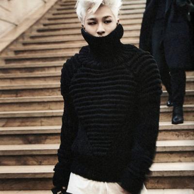 ★少量再入荷完了★WOOL100%BIGBANG SOL(テヤン)G-DRAGONXTAEYANG IN PARIS活動中のファッションスタイル!レムスウルタートル  ネックウールニット(3color)