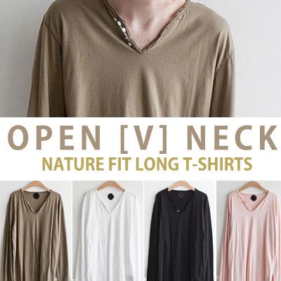 オープン[V]ネックナチュラルフィットロングTシャツ