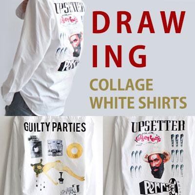 ドローイングコラージュホワイトシャツ