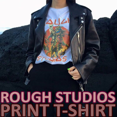 【FEMININE : BLACK LABEL】ROUGH STUDIO プリントTシャツ