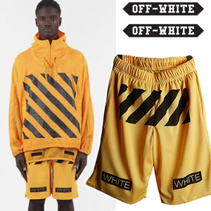 White 最新人気ストリートファッション通販Off-White風Mesh Printing Hlaf pants(4color)