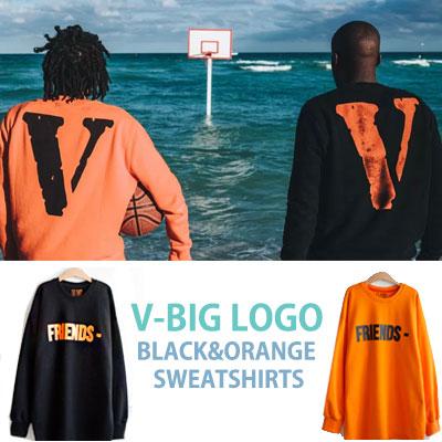Vビッグロゴブラック&オレンジスウェットシャツ