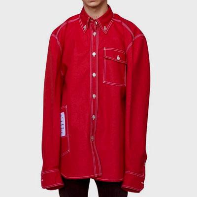 ヘンリースタイル/ホワイトステッチレッドワークシャツ
