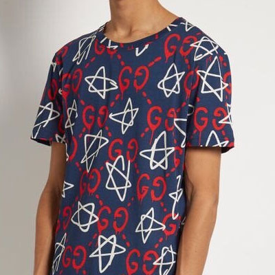スターのパターンショートスリーブTシャツ/半袖