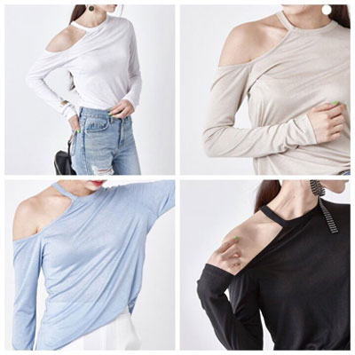 【FEMININE : BLACK LABEL】カットオフワンショルダーTシャツ(Free Size/4color)