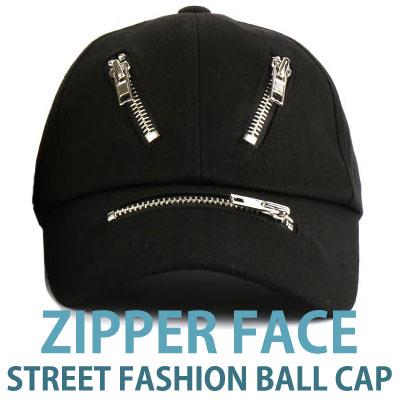 ジッパーフェイスストリートファッションボールキャップ