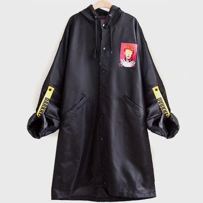 DAVIDダークネスパッチストラップロングジャケット