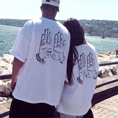 ★再入荷★UNISEXTYPE★海外スターセレブに大ブレイク中!ラブモアハンドプリント半袖Tシャツ(BLACK,GREY,WHITE)-copy