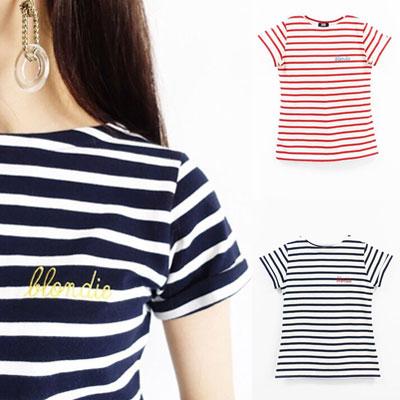 【FEMININE : BLACK LABEL】BLONDIE  ステッチ  ストライプ Tシャツ(FREE SIZE/3COLORS)