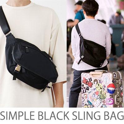 [男女兼用]  シンプルブラック スリングバック