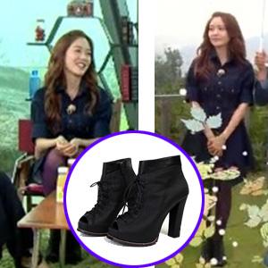 [22.5~25.0cm]韓国人気女優ソンユリがヒーリングキャンプで着用したツートンのBootie Heel(正規品)