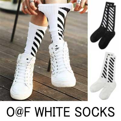 世界の人気ストリートファッション!O@F WH*TE STYLE.SOCKS WHITE & BLACK ソックス(2COLOR)