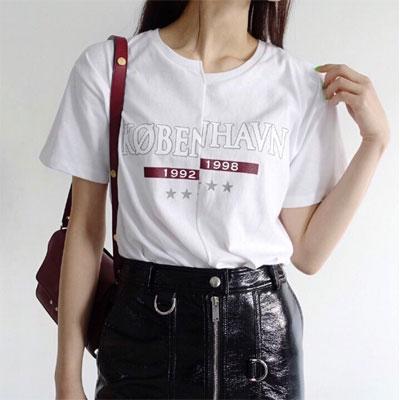 【FEMININE : BLACK LABEL】 KOBENHAVNプリントスプライスドT シャツ(FREESIZE/2COLOR)
