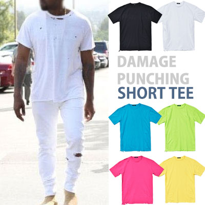 カニエ・ウェストST。ダメージパンチングショートスリーブTシャツ/半袖