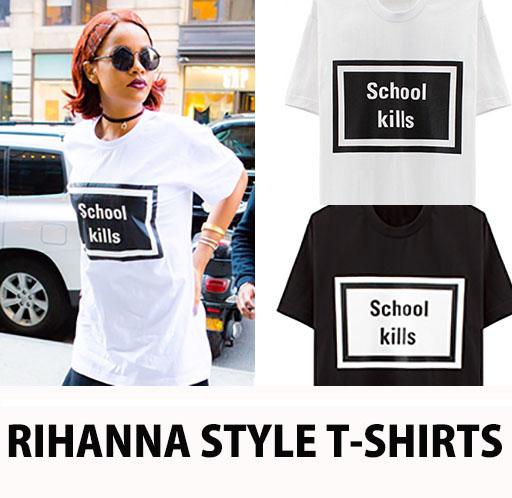 <<超激安セール>>RIHANNA FASHION STYLE!強烈でSIMPLEなプリント!SCHOOL LOGO Tシャツ /school kill