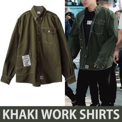 [2017 fw 再入荷] [KHAKI]ホワイトステッチワークシャツ/exo チャニョル
