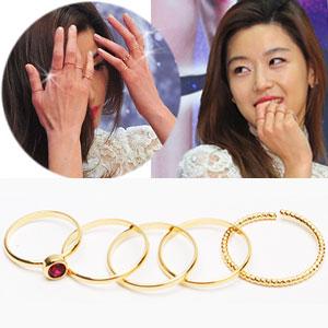 韓国ドラマ「星から来たあなた」ジョンジヒョンSTYLE Gold Ring(5set)