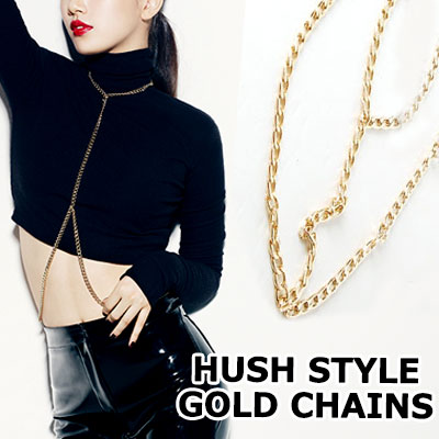 韓国の人気ガールズグループMISS-AのHUSHの舞台衣装スタイル!MISS A  HUSH STAGE STYLE GOLD チェーンベスト