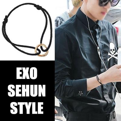 韓国で人気のアイドルグループEXOのセフン空港ファッションアイテム!Gold line black Bracelet