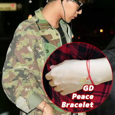 ★★SALE★★ビッグバンのG-dragonスタイル!!!願いが叶うPeace medal red Bracelet