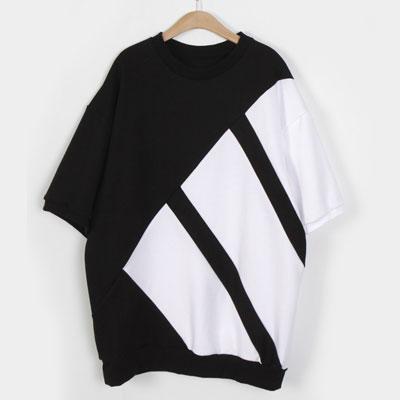 ブラック3ラインのショートスリーブスウェットシャツ/半袖