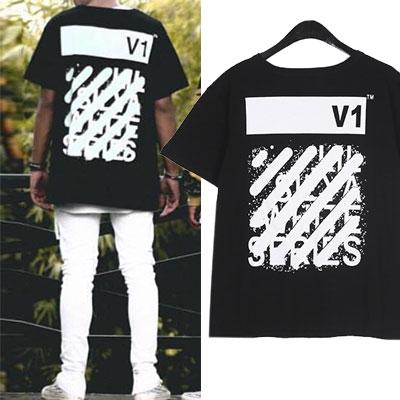 V1ダイヤゴノルプリントショートスリーブTシャツ/半袖