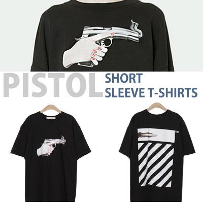 ピストルプリントショートスリーブTシャツ/半袖