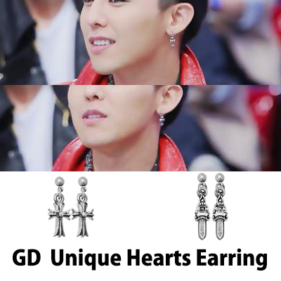 G-DRAGON着用【CRAYON】Unigue Hearts Earring